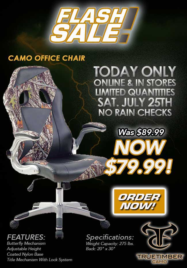 flash sale: camo office chair only $79.99!