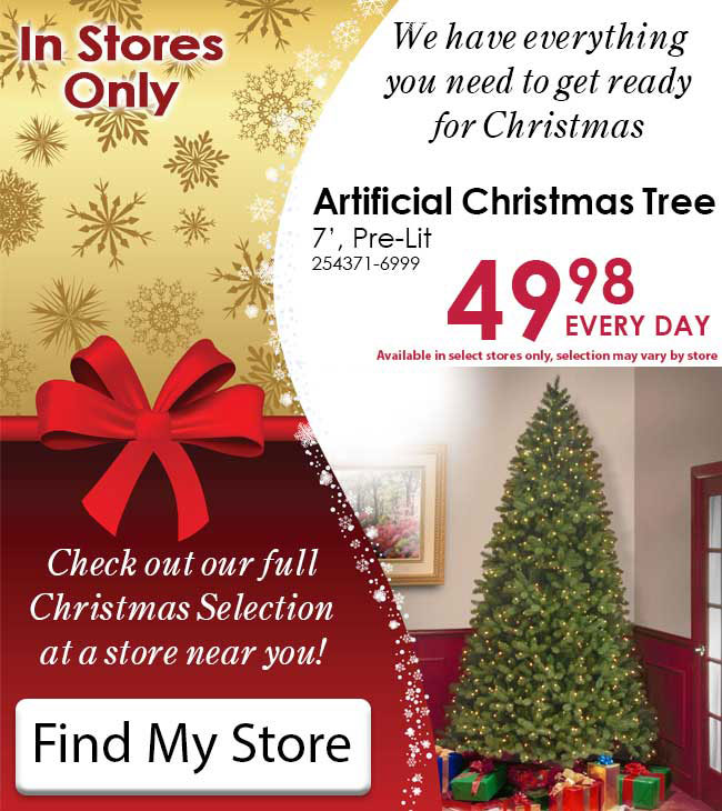 7 pre lit christmas tree only 4998 - Rural King Christmas Decorations
